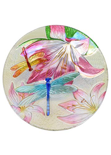 (Continental Art Center Inc. CAC3009785 18'' Holographic Painted Dragonfly Glass Bird Bath/Feeder, Fountain, Decorative Plate, Blue, Pink)
