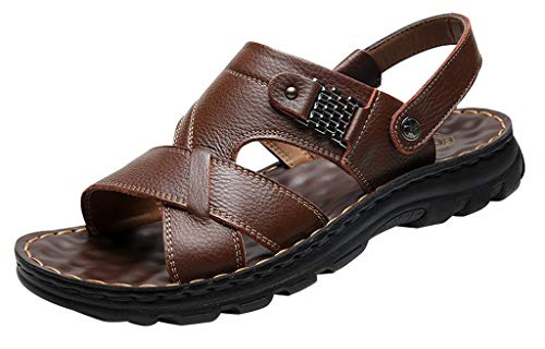 Vocni Men's Open Toe Casual Leather Comfort Shoes Sandals,Brown_Thick,EU 44-10 M US Brown Leather Comfort Shoes