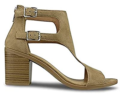 MVE Shoes Women's Open Toe Strappy Low Heeled-Sandals