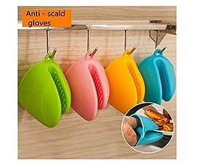Orange Mini Oven Mitts 1 Pair (2pcs), Heat Resistant Pinch Mitt Gloves Potholder for Kitchen Cooking & Baking - Food-Grade Silicone