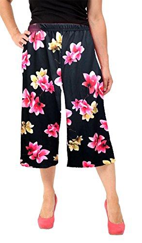 Imprimé Palazzo Court Baggy Femmes Floral Longueur Janisramone Dames Culottes Noir 4 Jambe Large Rose Pantalon Summer 3 FUAE4wn1