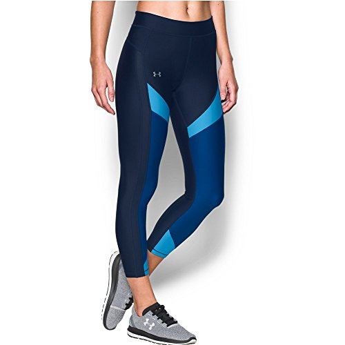Under Armour Women's HeatGear Color Blocked Ankle Crop, Midnight Navy /Metallic Silver, X-Small by Under Armour (Image #4)