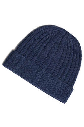 Fishers Finery Women's 100% Cashmere Cable Knit Hat; Super Soft (Heather Navy) (Super Stretch Knit Hat)