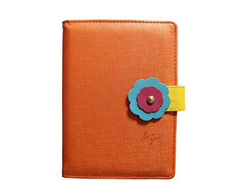 EGO Design-Refillable PU Leather Business Diary, Journal Notebook with Floral Magnetic Buckle, B6 Size, 96 pages (48 sheets)-Orange