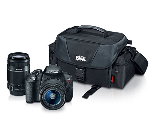 Canon EOS Rebel T5i with EF-S 18-55mm f/3.5-5.6 IS II Lens, EF-S 55-250mm f/4.0-5.6 IS II Telephoto Zoom Lens and Rebel Gadget Bag by Canon