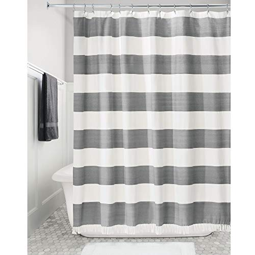 iDesign Wide Stripe Fabric Shower Curtain with Tassels, Fringe for Master, Guest, Kids' Bathrooms, Bathtubs, Stalls, Charcoal