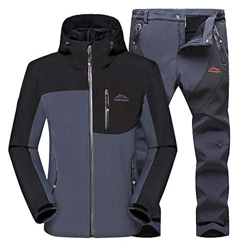 Outdoor Montaña WANPUL Hombre Softshell Gris gris Montaña Pantalones Conjunto Chaqueta Transpirables Pantalon Softshell Chaqueta xq4YSpwq
