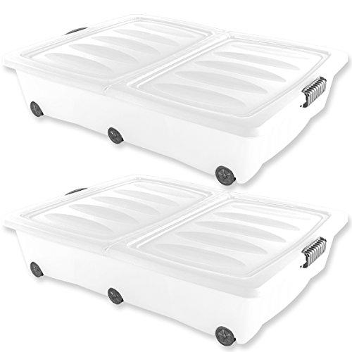 2 XXL Unterbettkommoden 60 Liter Volumen in Grün, Lila, Türkis oder Weiß mit Rollen Aufbewahrungsbox, Unterbettbox, Rollbox (2x Weiß)