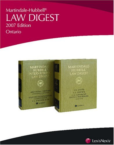 Martindale-Hubbell Law Digest: Ontario [Paperback] [2007] (Author) of Toronto. Revision by Borden Ladner Gervais LLP