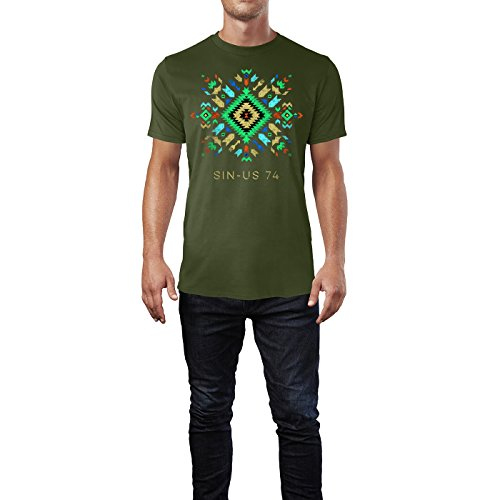 SINUS ART® Buntes Ethno Muster Herren T-Shirts in Armee Grün Fun Shirt mit tollen Aufdruck