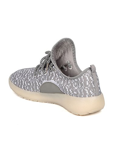 Kids Fabric Two Tone Lace Up Light Up Chargeable Jogger Sneaker GF45 - Grey (Size: Big Kid 4) by Link (Image #2)