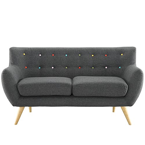 Modway Remark Mid-Century Modern Loveseat With Upholstered Fabric In Gray ()