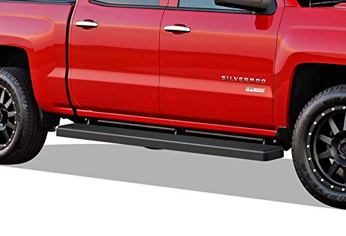 APS iBoard (Black Powder Coated 6 inches) Running Boards | Nerf Bars | Side Steps for 2007-2018 Chevy Silverado/GMC Sierra Crew Cab & 2019 2500 HD / 3500 HD Crew Cab (Excl. 07 Classic Models)