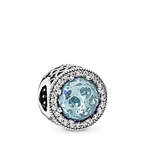 PANDORA Radiant Hearts Charm, Sterling Silver, Glacier-Blue Crystals, Clear Cubic Zirconia, One Size (Pandora Staff Charm)