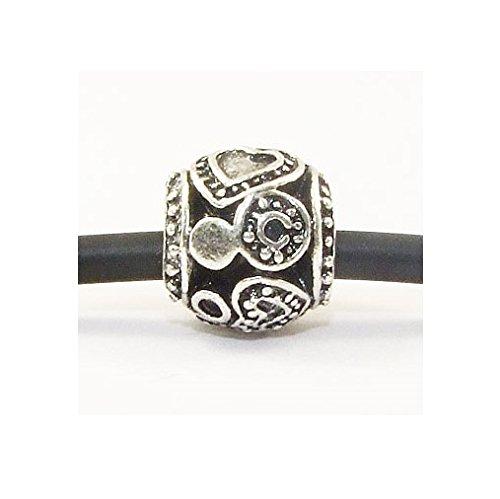 Andante-Stones perle Argent 925 en forme de tonneau avec 2 cœurs gravés Élément bille pour perles European Beads module Bracelet + Étui en organza