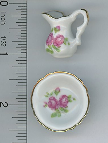 Dollhouse Miniature Pink Roses Pitcher and Washbasin in Porcelain
