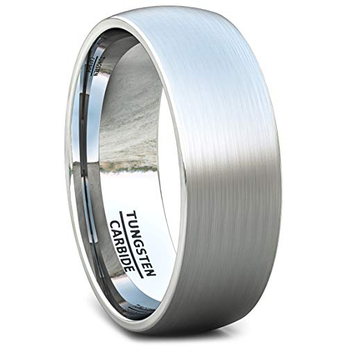 Duke Collections 8mm Tungsten Ring Brushed Classic Dome Mens Wedding Band Comfort Fit (9.5)