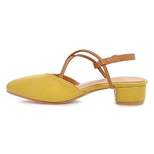 TAOFFEN Fashion Women Slingback Yellow Sandals 0r04Owq