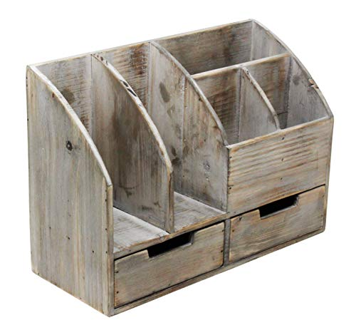 Vintage Rustic Wooden Office Desk Organizer & Book Shelf for Desktop, Tabletop, or Counter - Distressed Torched Wood – for Office Supplies, Desk Accessories, or Mail by Executive Office Solutions (Image #8)