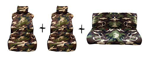 - ERPART Set of 2X Front + 1x Rear Neoprene Waterproof SEAT Covers Drapes in CAMO Camouflage for Jeep Wrangler JK JKU JL 07-19 2007-2019 - Front and Rear - Airbag Compatible