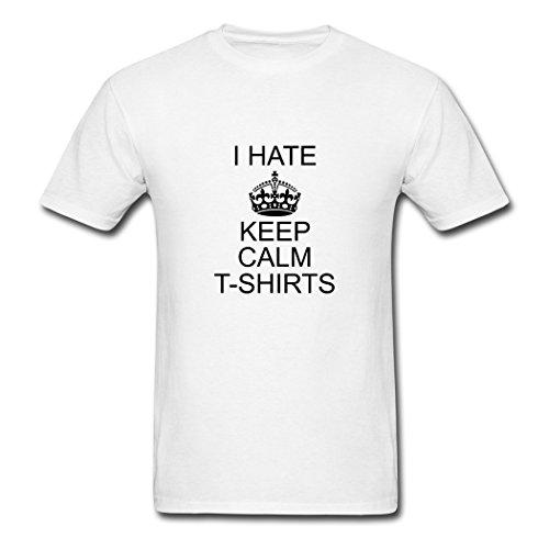 Captain ABC Men's DIY Printed I Hate T-Shirt White
