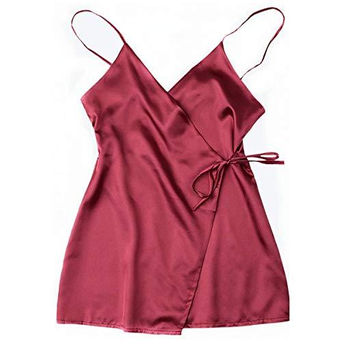 (Kyerivs Satin Lingerie Wrap Slip Chemise Dress Sleepwear Nightwear Nightgown Nightdress Lingerie Wine red M (US)