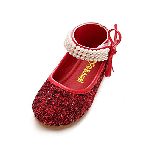 Red Glitter Toddler Shoes (O&N Glitter Toddler Children Princess Wedding Party Bridesmaid Shoes Kids Girls Ballet Flats Mary Jane)