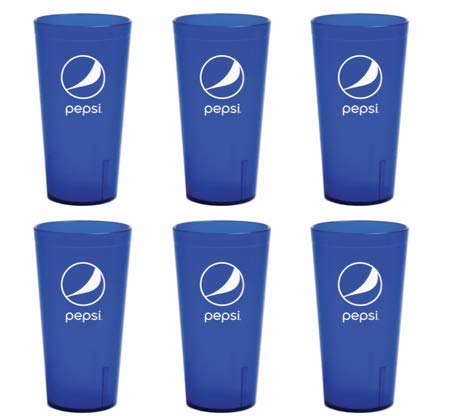 (Pepsi Cola Blue Plastic Tumblers Cups 24-Ounce Restaurant Grade Cups, Set of 6)
