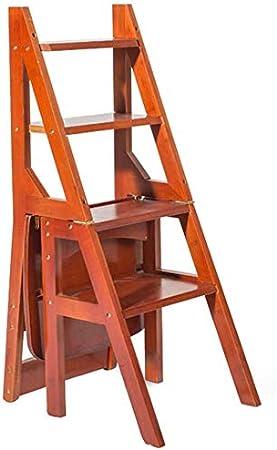 BYY Taburete Hecho de Madera Maciza Taburete escalones Plegables Escalera de Madera Silla multifunción Plegable Biblioteca hogar Oficina 4 Pasos estantería Escalera roja: Amazon.es: Hogar