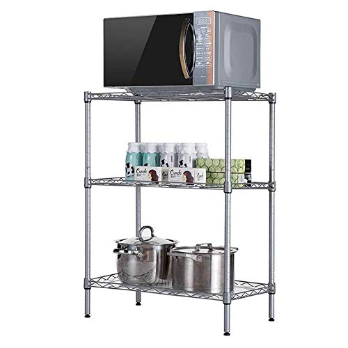 Multifunctional Microwave Oven Shelf With Hooks, 3-Layer Utility Kitchen Rack Storage Organizer, 54X29X58CM (Color : ()