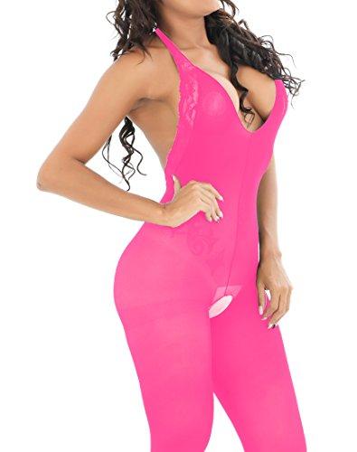 Rose Lace Bodystocking - MysterLuna Women Lingerie Lace Open Crotch Backless Halter Bodystockings Babydoll Bodysuits (Rose)