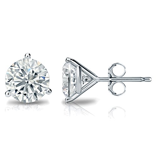 IGI Certified 14k White Gold 3-Prong Martini Round Diamond Stud Earrings (2 ct, J-K, (Diamond Martini Stud)