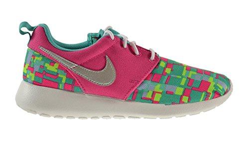 7f451d953643 Nike Roshe Run Print (GS) Big Kids Shoes Vivid Pink Metallic Silver-Hyper  Jade-Volt 677784-601 (5 M US) - Buy Online in Oman.