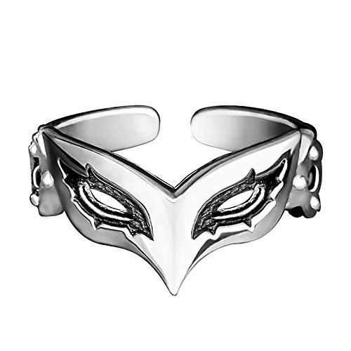 Anime Persona 5 P5 Joker Persona Mask Ring 925 Sterling Silver Cosplay Adjustable Gift US Size # 7 8 -