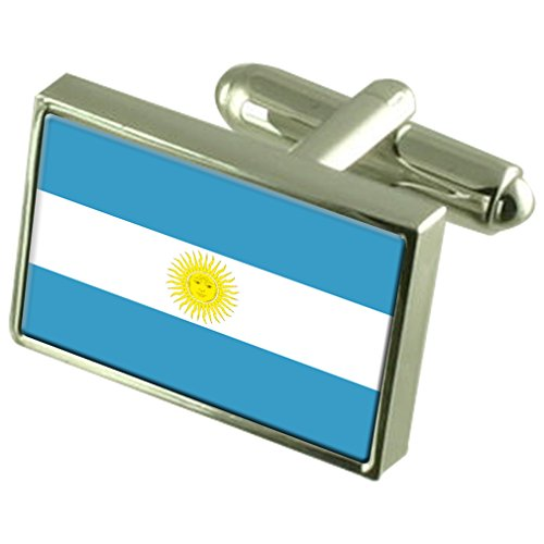 Argentina Sterling Silver Flag Cufflinks by Select Gifts