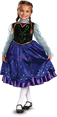 [Disguise Girls Disney Frozen Anna Deluxe Costume, One Color, X-Small/3T-4T] (Toddler Scary Halloween Costumes)