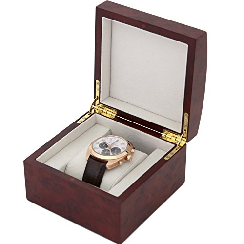 Single Watch Box 1 Extra Large Watch Wood Removable Cushion (Burlwood Finish)