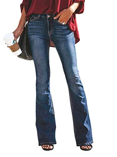 OranDesigne Donne Jeans a Zampa di Elefante Moda Pantaloni a Zampa di Elefante Pantaloni a Vita Alta Elasticizzati