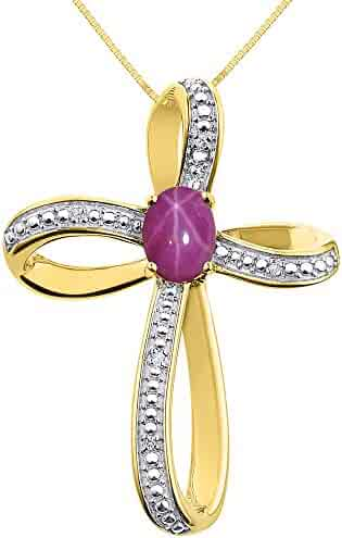 Diamond & Star Ruby Cross Pendant Necklace Set In 14K Yellow Gold with 18