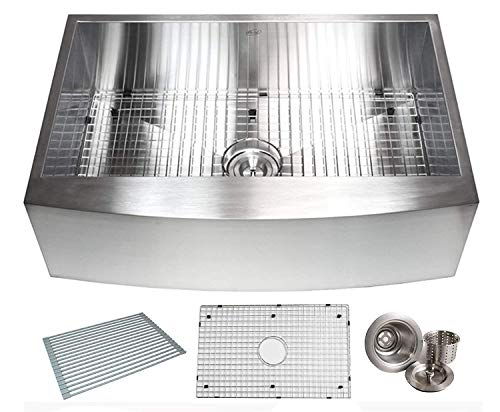 33 INCH Zero Radius Design 16 Gauge Single Bowl Stainless Steel Curve Farmhouse Apron Kitchen Sink Premium Package (33 INCH) KKR-EFS3321 ()