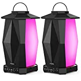 Olafus Outdoor Bluetooth Speakers, 2 Pack 25W Waterproof Wireless Lantern Speakers, Up to 200 Speakers Synch, Party Speakers with LED Mood Lights for Christmas, Patio, 20H Playtime