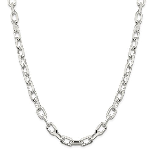 925 Sterling Silver 9mm Fancy Open Link Cable Necklace Chain 24inch (24 Inch Open Link Necklace)