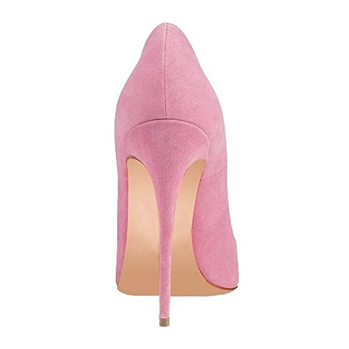 Shoes Heels Pink Women Pumps Fsj Prom 4 Size Sexy Stilettos High Cm Toe Suede Pointed 15 Us 12 1f77xTz