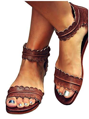 (LAICIGO Women's Boho Scalloped Strap Flat Sandals Ankle Button Faux Leather Back Zipper Summer Shoes )