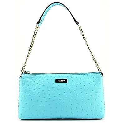 Kate Spade Wellesley Byrd Genuine Leather Small Shoulder Bag Purse Handbag (Ostrich Pool Blue)