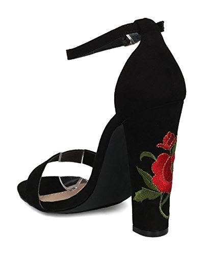 Alrisco Kvinnor Broderade Blocket Häl Sandal - Blommig Chunky Häl - Dressat Formell Mångsidig Girls Night Party Shoe - Hd49 Av Fahrenheit Samling Svart Mediemixen