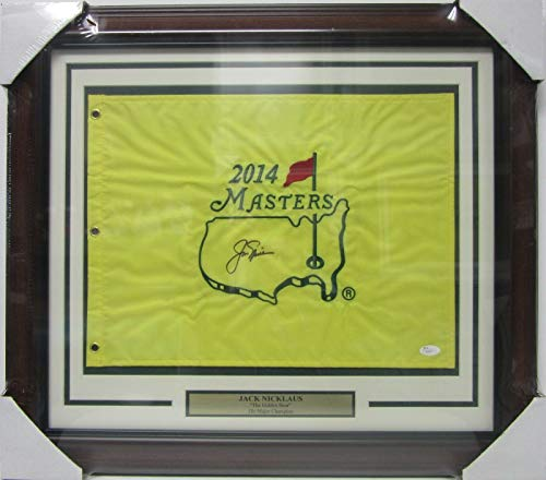 JACK NICKLAUS SIGNED AUTOGRAPHED 2014 MASTERS GOLF FLAG FRAMED JSA #Z06477