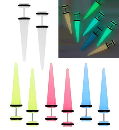 UPC 821700338510, Glow in the Dark Fake Tapers Earrings Lot of 8 Pieces 0G Gauges Look 4 Pairs