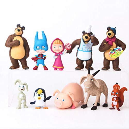 Masha and The Bear Playset 10 Pcs Figures Doll Toys Party Favor Cupcake Topper + Bonus Assorted Stickers from ToysOutletUSA