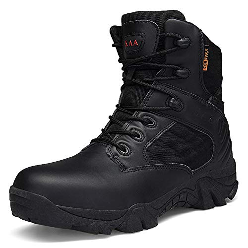 Bitiger Men's Combat Boots with Side Zipper Velcro and Casual Outdoor Mountaineering Trekking Commando Tactical Boots